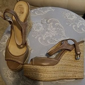 Brown stitched wedges